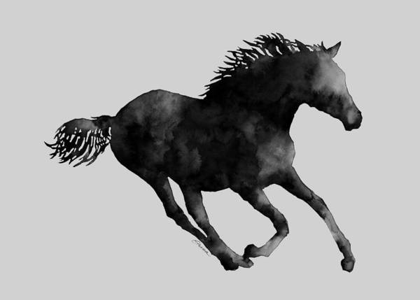Horse Running In Black And White Poster