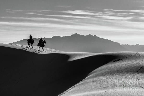 Horseback At White Sands Poster
