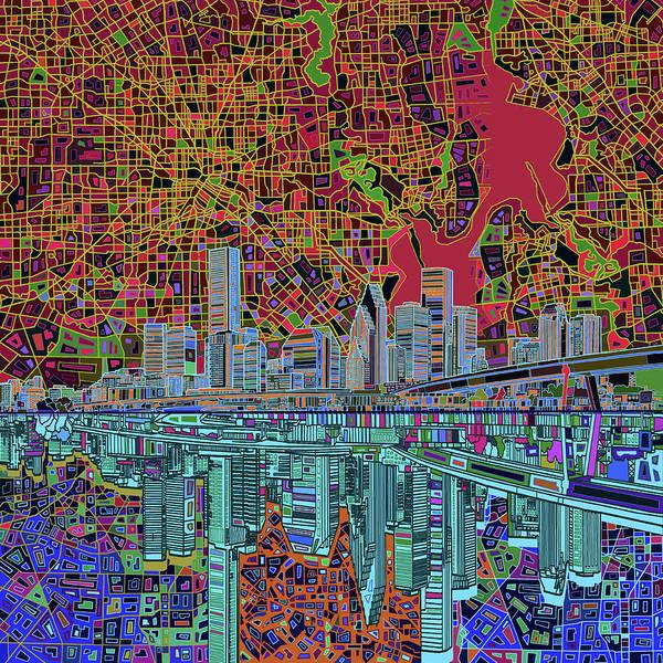 Houston Skyline Abstract 3 Poster