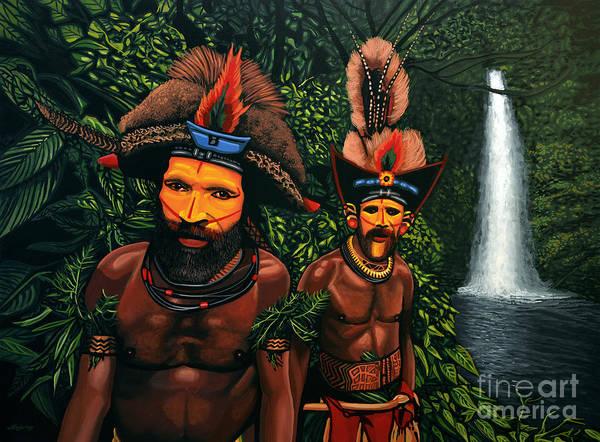 Huli Men In The Jungle Of Papua New Guinea Poster