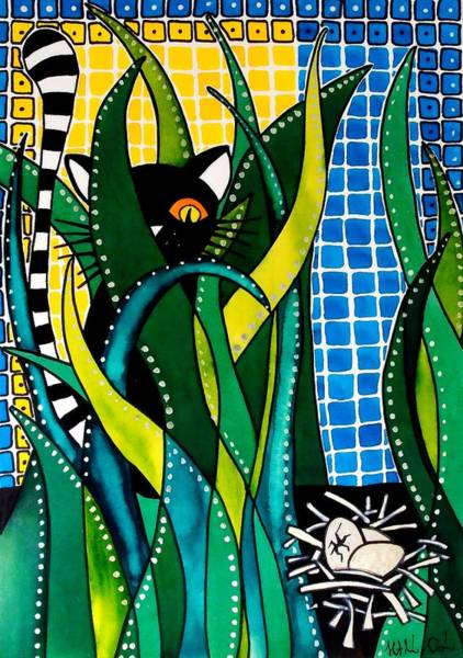 Hunter In Camouflage - Cat Art By Dora Hathazi Mendes Poster