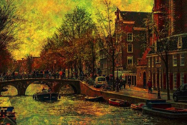 I Amsterdam. Vintage Amsterdam In Golden Light Poster