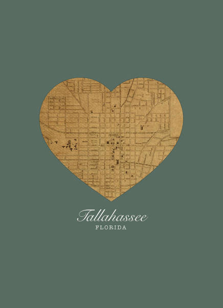 I Heart Tallahassee Florida Street Map Love Series No 122 Poster