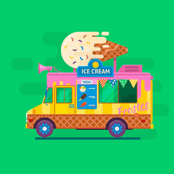 Ice Cream Van Delivery.street Food Truck Vector Illustration.flat Vector Illustration Poster