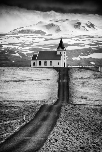 Iceland Ingjaldsholl Church And Mountains Black And White Poster