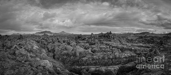 Icelands Mossy Volcanic Rock Bw Poster