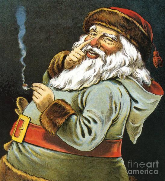 Illustration Of Santa Claus Smoking A Pipe Poster