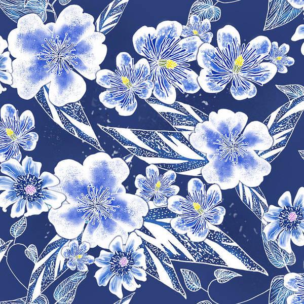 Indigo Batik Tile 2 - Ginger Leaves Poster
