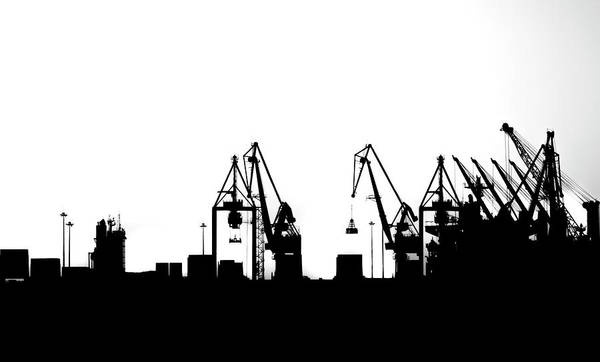 Poster featuring the photograph Industrial Silhouette In Bw by Nikos Stavrakas