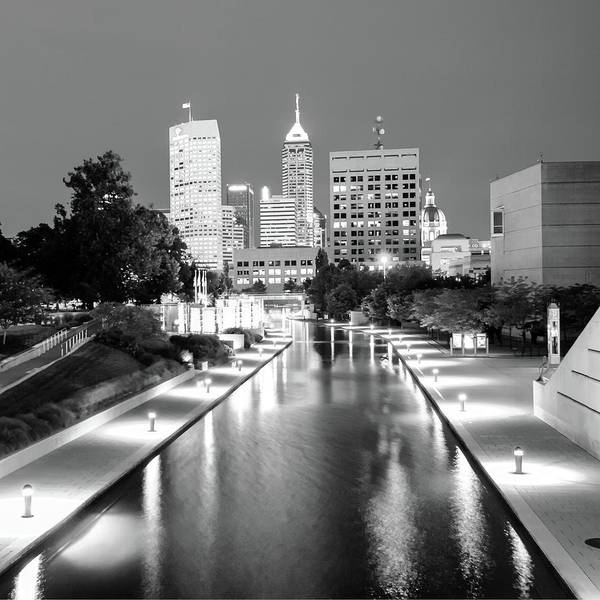 Indy City Skyline - Indianapolis Indiana Black-white 1x1 Poster