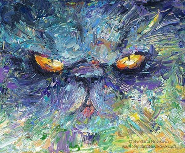 Intense Palette Knife  Persian Cat Poster
