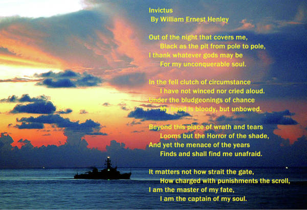 Invictus By William Ernest Henley Poster