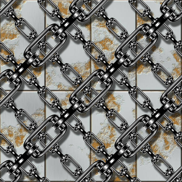 Iron Chains With Rusty Metal Panels Seamless Texture Poster