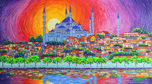 Istanbul Blue Mosque Sunset Modern Impressionist Palette Knife Oil Painting By Ana Maria Edulescu    Poster