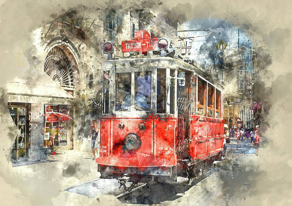 Istanbul Turkey Red Trolley Digital Watercolor On Photograph Poster