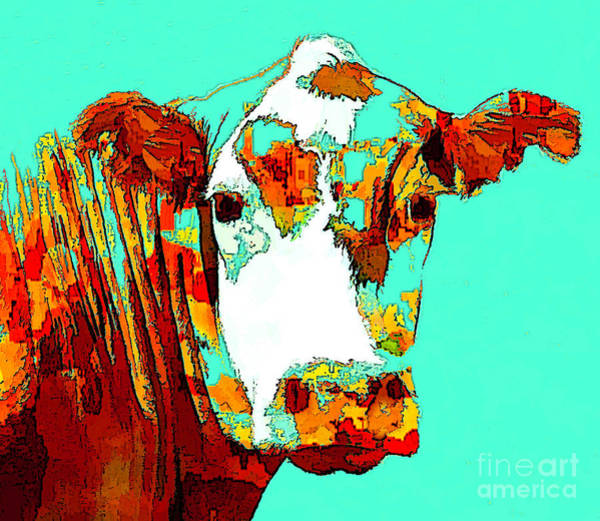Turquoise Cow Poster