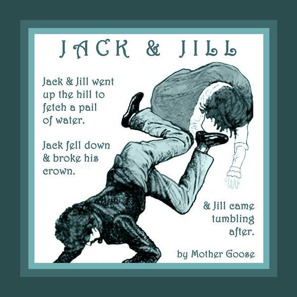 Jack And Jill Vintage Mother Goose Nursery Rhyme Poster