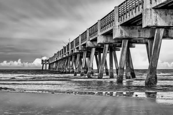 Jacksonville Beach Pier In Black And White Poster
