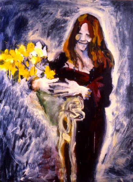 Janis With Yellow Roses Poster