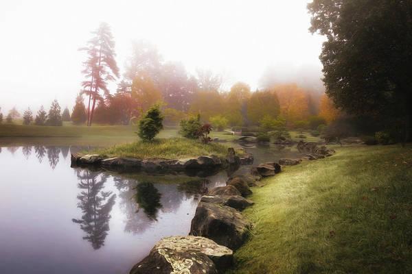 Japanese Garden In Early Autumn Fog Poster