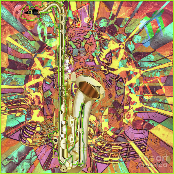 Poster featuring the digital art Jazz Me Up by Eleni Mac Synodinos