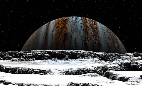 Jupiter Rise At Europa Poster
