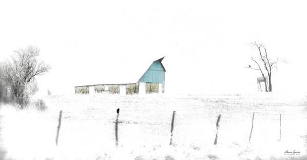 Kansas Blue Barn In Frozen Fog Poster