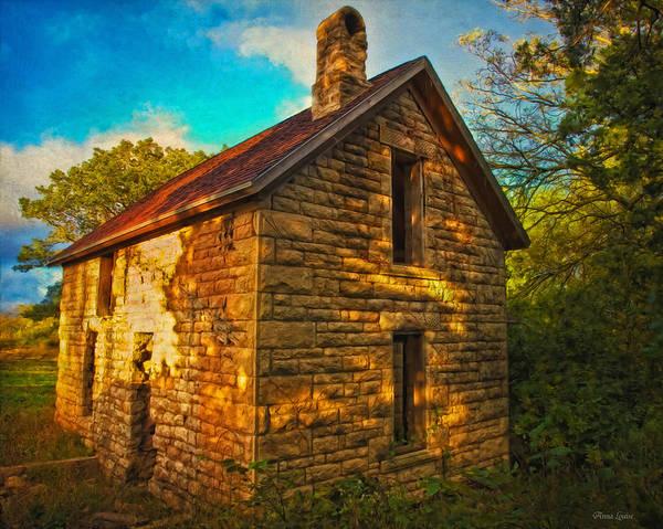 Kansas Countryside Stone House Poster