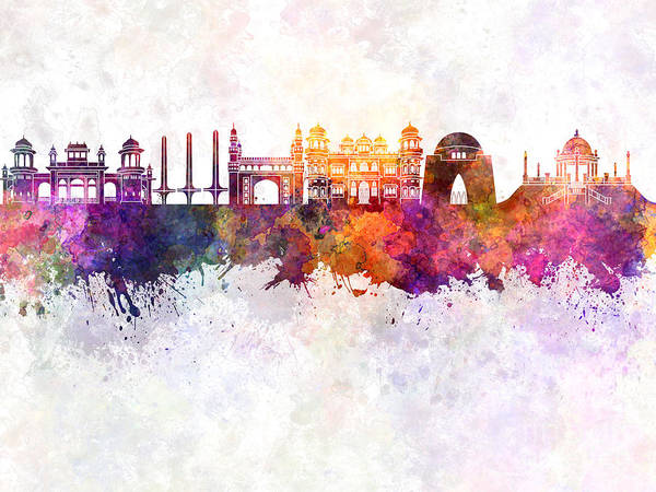 Karachi Skyline In Watercolor Background Poster