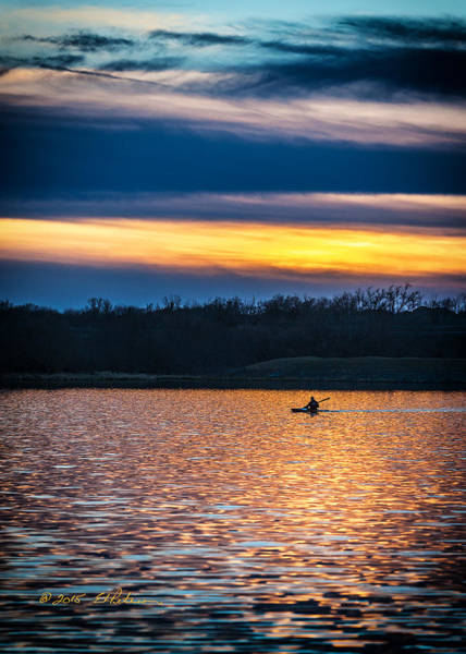 Poster featuring the photograph Kayak Sunset by Edward Peterson