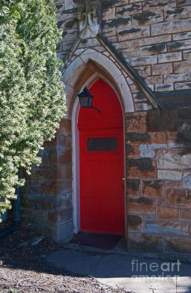 Red Church Door Poster