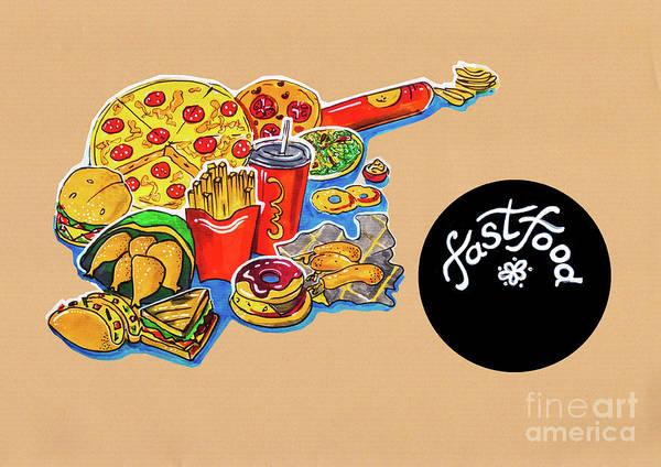 Kitchen Illustration Of Menu Of Fast Food  Poster