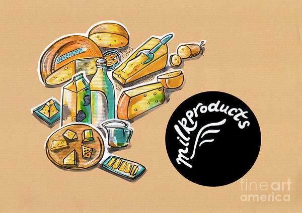 Kitchen Illustration Of Menu Of Milk Products  Poster
