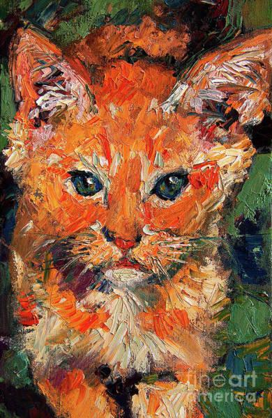 Kitten Orange Tabby Oil Painting Poster
