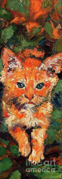 Kitten Orange Tabby Impressionist Oil Painting Poster