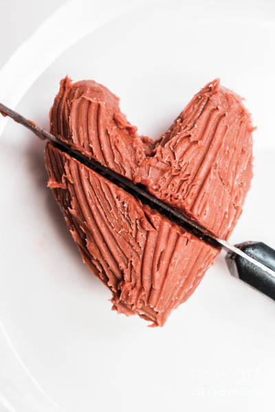 Knife Cutting Heart Shape Chocolate On Plate Poster