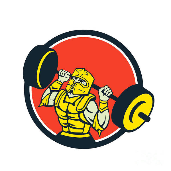Knight Lifting Barbell Circle Retro Poster