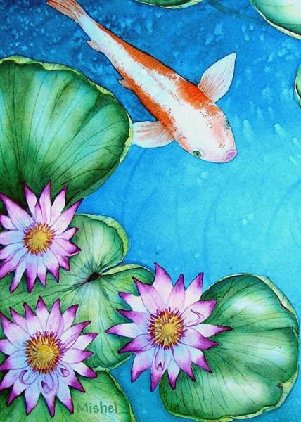 Koi And Lilies Cards And Prints  Poster