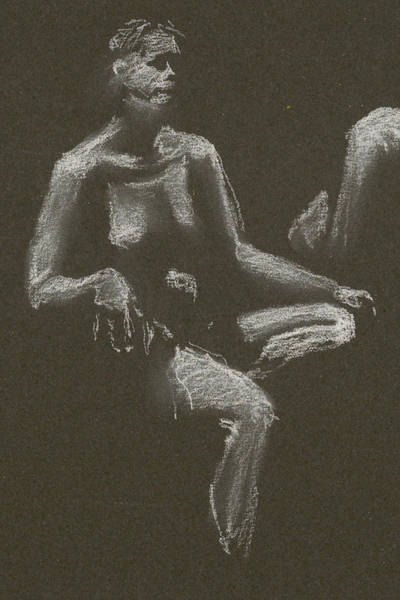 Kroki 2015 04 25 _3 Figure Drawing White Chalk Beskuren Poster