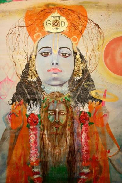 Poster featuring the painting Krsna And Christ by Brian c Baker