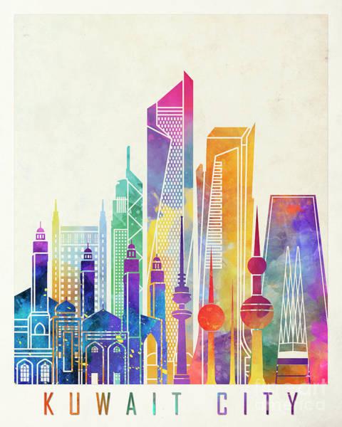 Kuwait City Landmarks Watercolor Poster Poster