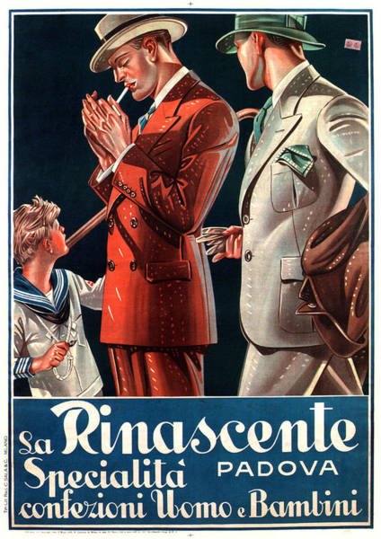 La Rinascente - Clothing For Men - Italian Fashion - Padova, Italy - Vintage Advertising Poster Poster