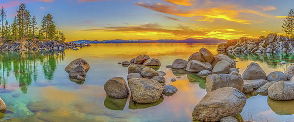 Lake Tahoe Spring Sunset Panoramic Poster