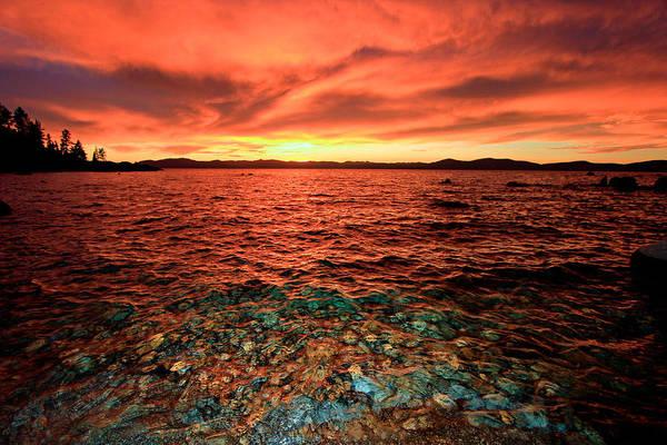 Lake Tahoe...blood Moon Sunset Poster