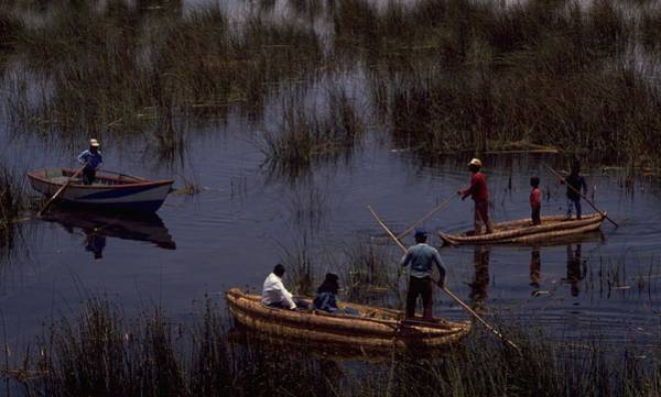 Poster featuring the photograph Lake Titicaca Reed Boats by Travel Pics