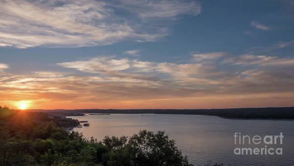 Lake Travis During Sunset With Clouds In The Sky Poster