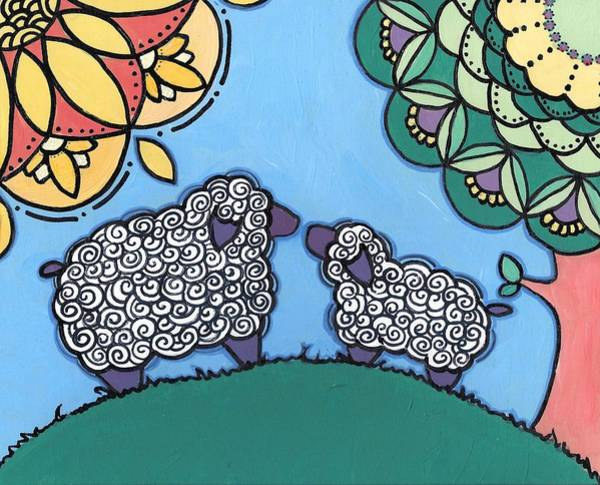 Poster featuring the painting Lamb And Mama Sheep by Caroline Sainis