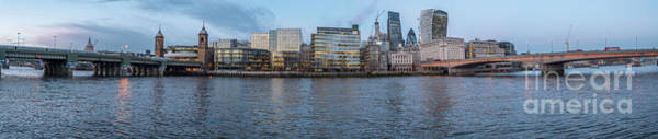 Large Panorama Of Downtown London Betwen The London Bridge And T Poster