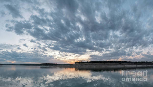 Large Panorama Of Storm Clouds Reflecting On Large Lake At Sunse Poster