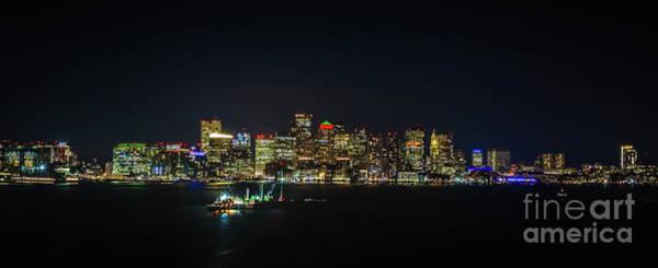 Large Panoramic Of Downtown Boston At Night Poster